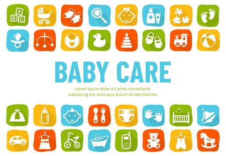 Baby banner with flat icons - childrens toys, food, clothes. Newborn and kids, feeding and care themes. Vector horizontal background with place for text.