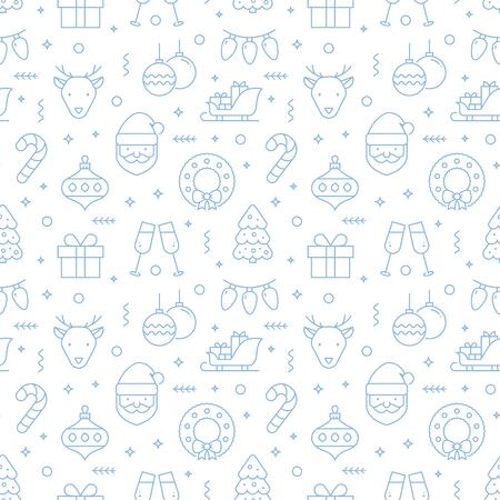 Christmas seamless pattern with line icons. Vector illustration with pale blue holiday symbols on a white background. Ilustração