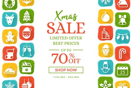 Christmas sale banner with flat icons. Vector background with holiday season symbols and place for text. Horizontal template for Christmas and New Year discounts. Illustration