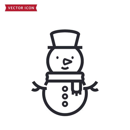 Snowman icon. Line symbol for winter holiday or Christmas themes. Vector outline illustration isolated on a white background.