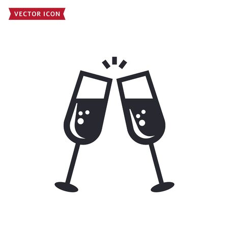 Champagne icon isolated on a white background. Vector symbol for Christmas, New Year, birthday party or other celebration themes. Two clinking glasses with an alcoholic beverage. Toast concept.