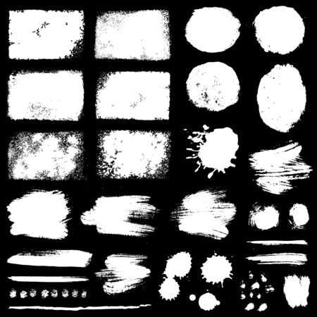 Paint brush strokes, grunge stains and ink blots isolated on black background. White vector design elements for paintbrush texture, frame, background, banner or text box. Freehand drawing collection.