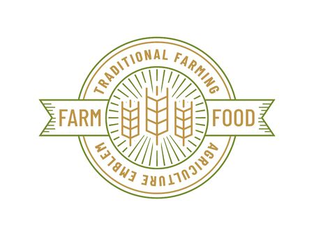 Farm food isolated on white background. Line emblem with wheat ear. Outline badge for organic agriculture products. Vector template. Ilustração