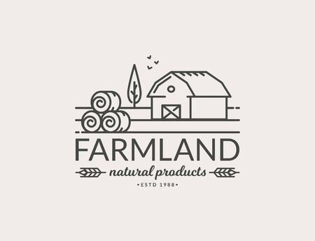 Farm isolated on white background. Black line emblem with farmhouse and hay bales for natural products and organic food. Vector outline symbol.