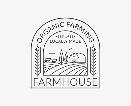 Farm isolated on white background. Line emblem with farmhouse, cows and wheat ear. Black outline badge for natural products and organic food. Vector illustration.