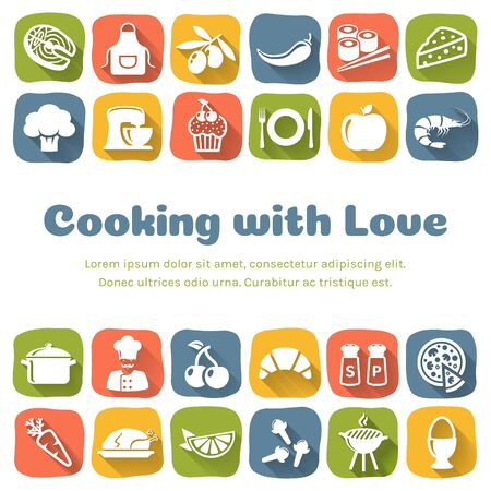 Cooking banner with flat icons and copy space. Colorful culinary background with place for text. Vector illustration. Ilustração