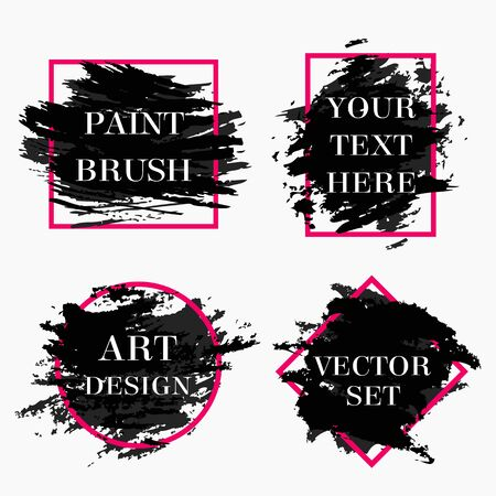 Set of grunge frames with black paint brush strokes isolated on white background. Modern design elements for sale banners, flyers, advertisement or text boxes. Vector illustration.