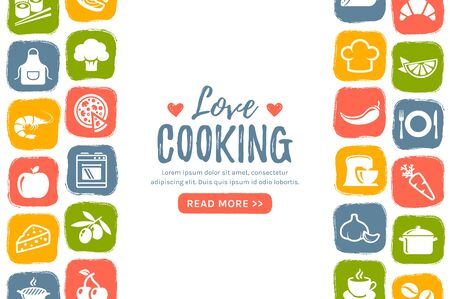 Cooking banner with flat icons and place for text. Colorful background for culinary, food or kitchen themes. Vector illustration.