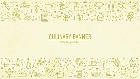 Cooking banner with food and kitchen line icons and copy space. Culinary background with place for text. Vector illustration. Illustration