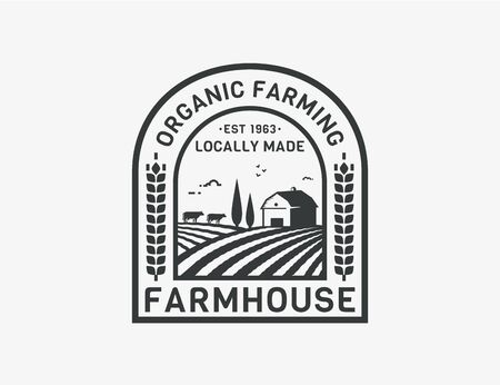 Farm House isolated on white background. Black emblem with farmhouse, cows and fields for natural farm products, organic food, farmers market. Vector badge. Ilustração