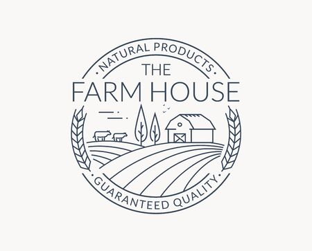Farm isolated on white background. Black line emblem with farmhouse, cows and wheat ear. Vector outline badge for natural products and organic food. Ilustração