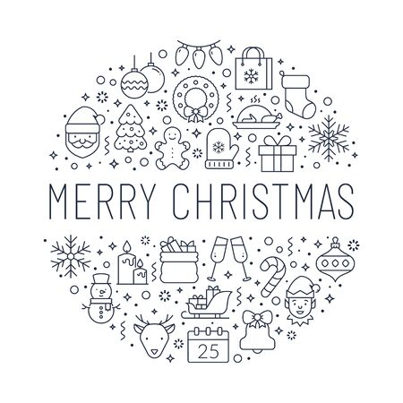 Merry Christmas banner with holiday line icons. White background with black outline symbols. Vector greeting card.