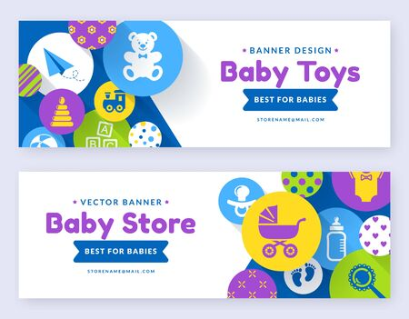 Baby banners. Vector web templates. Horizontal labels set for kids stores or online shopping offers. Illustration