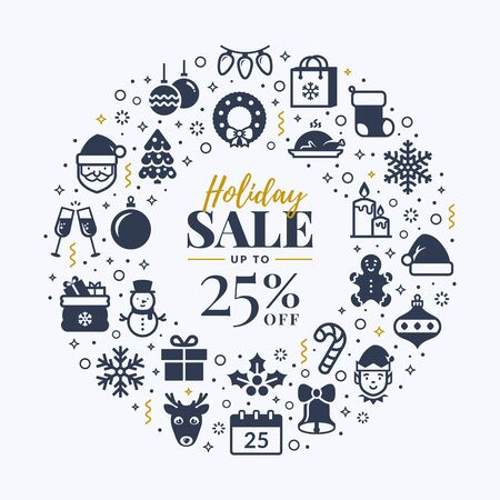 Christmas sale banner with holidays icons. Vector white background with isolated black symbols for Christmas and New Year discounts.