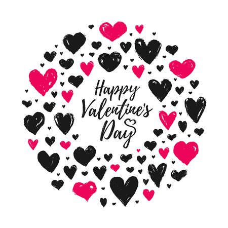Valentines day greeting card with painted hand drawn hearts. Vector illustration isolated on a white background. Ring shape made of pink and black hearts. Romantic banner.