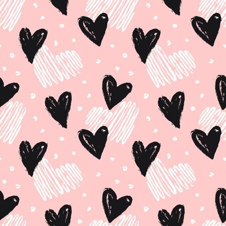 Seamless pattern with hand drawn hearts. Pink background and painted black and white hearts. Stylish modern print for love, wedding, Valentine's day or other romantic design. Vector illustration.