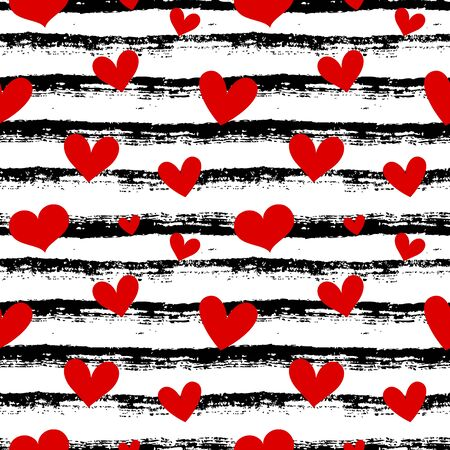 Seamless pattern with hearts and hand drawn stripes. Black and white striped background and red hearts. Modern bright print for love, wedding, Valentine's day or other romantic design. Vector.