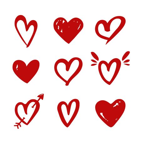Hearts isolated on a white background. Vector hand drawn symbols for love, wedding, Valentines day or other romantic design. Set of 9 various shapes. Red doodle illustrations.