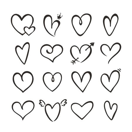 Hearts isolated on a white background. Vector hand drawn outline symbols for love, wedding, Valentines day or other romantic design. Set of 16 various decorative shapes. Black doodle illustrations. Ilustração