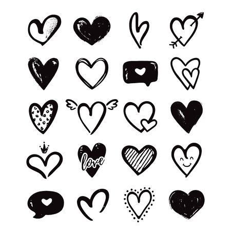Hearts isolated on a white background. Vector hand drawn symbols for love, wedding, Valentines day or other romantic design. Set of 20 various decorative shapes. Black doodle illustrations. Ilustração