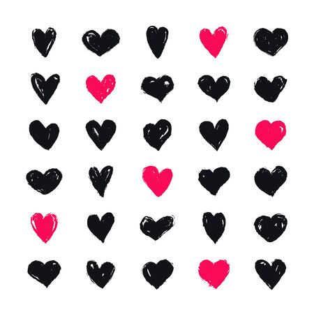 Hearts painted with brush. Vector hand drawn shapes isolated on a white background for love, wedding, Valentines day or other romantic design. Set of 30 various heart symbols.