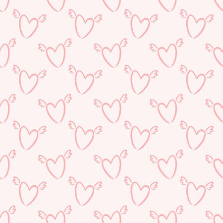 Seamless pattern with winged hearts. Pale pink background. Print for love, wedding, Valentine's day or baby design. Vector illustration.