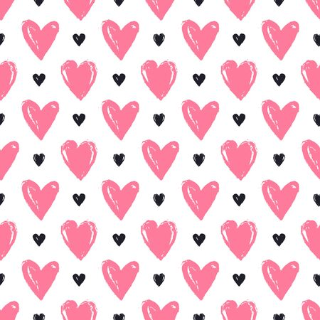 Seamless pattern with hand drawn hearts. White background and painted pink and black hearts. Romantic vector illustration for love, wedding or Valentine's day design.