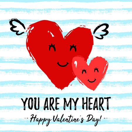 Valentine's Day card with cute enamored hearts and phrase - You are my heart. Romantic hand drawn illustration with striped background. Vector design. Love concept. Illustration