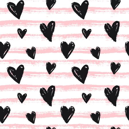 Seamless pattern with hand drawn hearts and stripes. Pink and white striped background and painted black hearts. Modern print for love, wedding, Valentine's day or other romantic design. Vector.