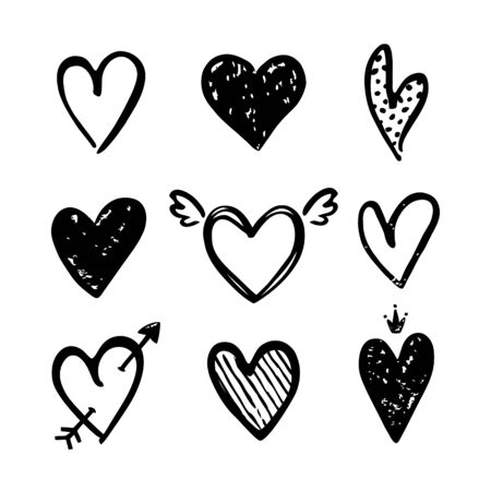 Hearts isolated on a white background. Vector hand drawn symbols for love, wedding, Valentine's day or other romantic design. Set of 9 various decorative shapes. Black doodle illustrations.