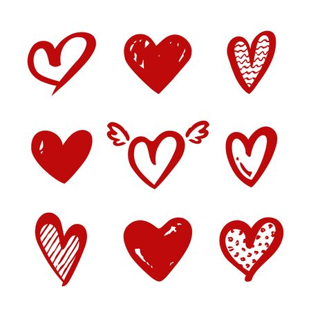 Heart shapes isolated on a white background. Vector red symbols for love, wedding, Valentine's day or other romantic design. Set of hand drawn illustrations. Illustration