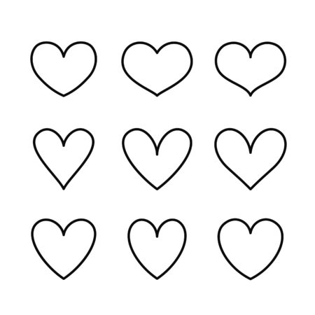 Heart line icons isolated on a white background. Vector outline symbols for love, wedding, Valentine's day or other romantic design. Set of 9 various shapes.