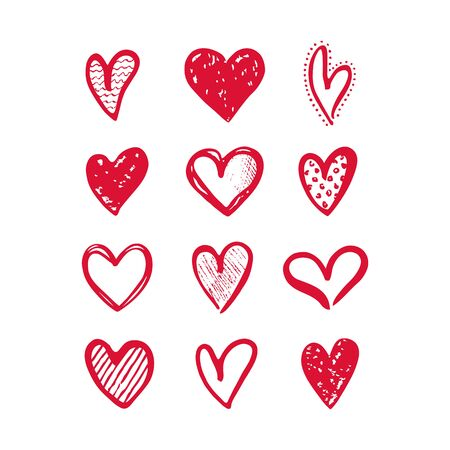 Hearts isolated on a white background. Vector hand drawn symbols for love, wedding, Valentine's day or other romantic design. Set of 12 various decorative shapes. Pink doodle illustrations.