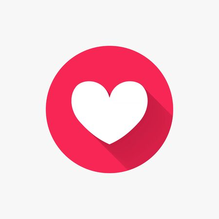 Heart flat icon. Vector symbol for love, wedding, Valentine's day or other romantic design. Modern circle sign with long shadow for social media or apps. Like concept. Vector illustration.
