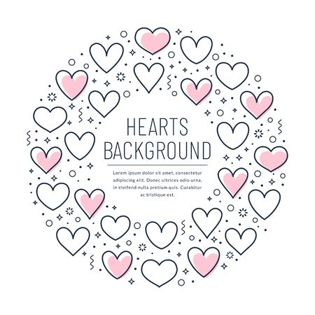 Romantic card with line hearts and place for text. Template for love, wedding or Valentine's day design. Ring shape made of outline hearts isolated on white background. Vector banner. Illustration