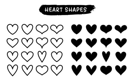 Heart line and silhouette icons isolated on a white background. Vector symbols for love, wedding, Valentine's day or other romantic design. Set of 16 various shapes in glyph and outline styles.