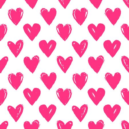 Seamless pattern with hand drawn hearts. White background and painted pink hearts. Romantic vector illustration for love, wedding or Valentine's day design.