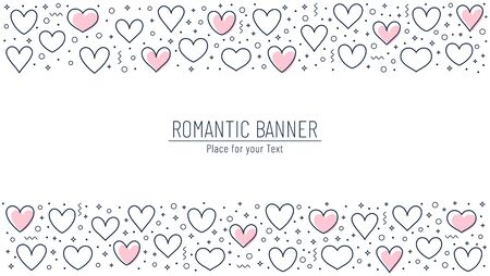 Romantic banner with line hearts and place for text. Horizontal template for love, wedding or Valentine's day design. Vector background with borders from outline hearts and abstract decorative elements.