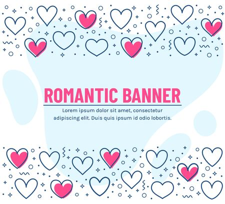 Romantic banner with line hearts and place for text. Template for love, wedding or Valentine's day design. Vector card with borders from outline hearts and abstract decorative elements.
