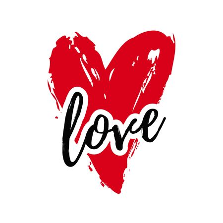 Love illustration with heart isolated on a white background. Vector print for wedding, Valentine's day or other romantic design. Sloppy hand drawn style. Illustration