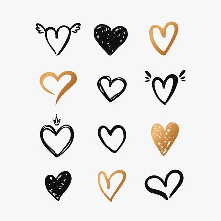 Hearts isolated on a white background. Vector hand drawn symbols for love, wedding, Valentine's day or other romantic design. Set of 12 various decorative shapes. Black and gold doodle illustration.