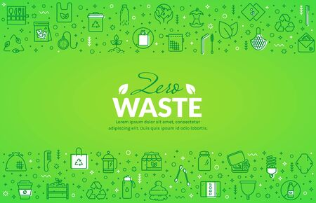 Zero waste web banner with line icons. Recycling, reusable items, plastic free, save the Planet and eco lifestyle themes. Vector horizontal background with place for text.