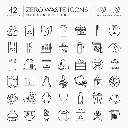 Zero waste line icons. Outline symbols isolated on white background. Recycling, reusable items, plastic free, save the Planet and eco lifestyle themes. Editable stroke. Vector collection. Stock Vector - 139801831