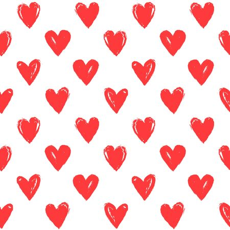 Seamless pattern with hand drawn hearts. White background and painted red hearts. Romantic vector illustration for love, wedding or Valentine's day design.