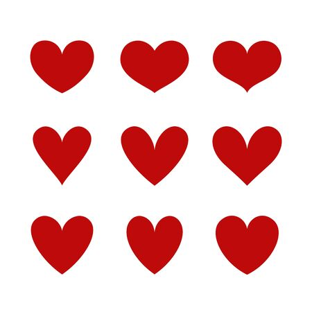 Heart icons isolated on a white background. Vector shapes for love, wedding, Valentine's day or other romantic design. Set of 9 various silhouettes. Illustration