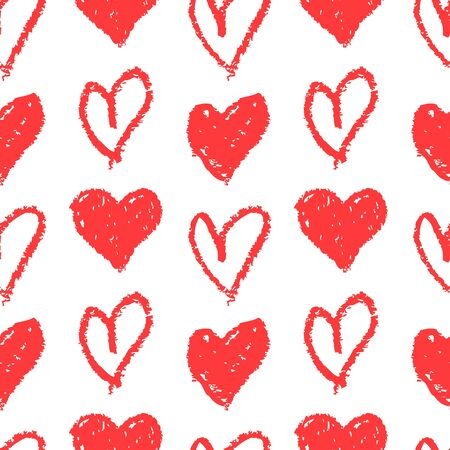 Seamless pattern with hand drawn hearts. White background and red  painted hearts. Print for love, wedding, Valentine's day or other romantic design. Vector illustration.