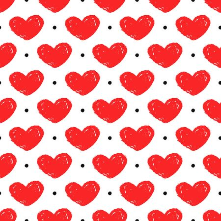 Seamless pattern with hand drawn hearts and dots. White background and painted red hearts. Romantic vector illustration for love, wedding or Valentine's day design. Иллюстрация