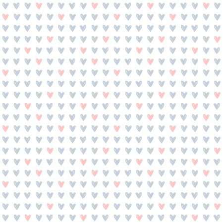 Seamless pattern with small hand drawn hearts. White background with pale gray and pink hearts. Print for love, wedding, Valentine's day or baby design. Vector illustration. Иллюстрация