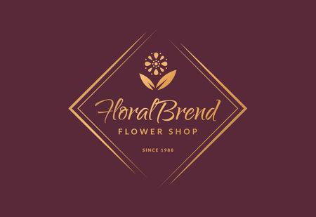 Flower shop logo. Elegant golden floral emblem isolated on clean background. Vector template.