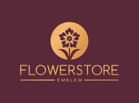 Flower store logo. Elegant golden floral emblem isolated on clean background. Vector template. Иллюстрация